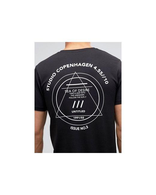 Длинная Облегающая Футболка С Принтом Studio Copenhagen Asos                                                                                                              чёрный цвет