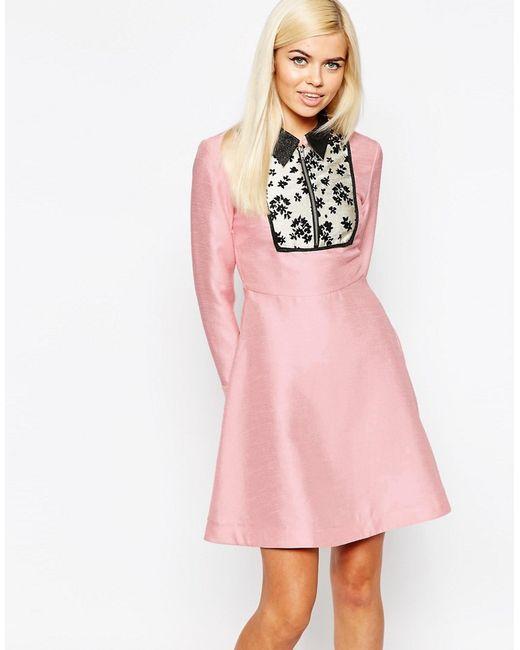 Платье С Жаккардовой Вставкой Electric Lily Бледно-Розовый Sister Jane                                                                                                              розовый цвет
