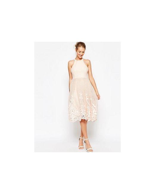 Пышное Сетчатое Платье С Цветочной Вышивкой Asos                                                                                                              голубой цвет