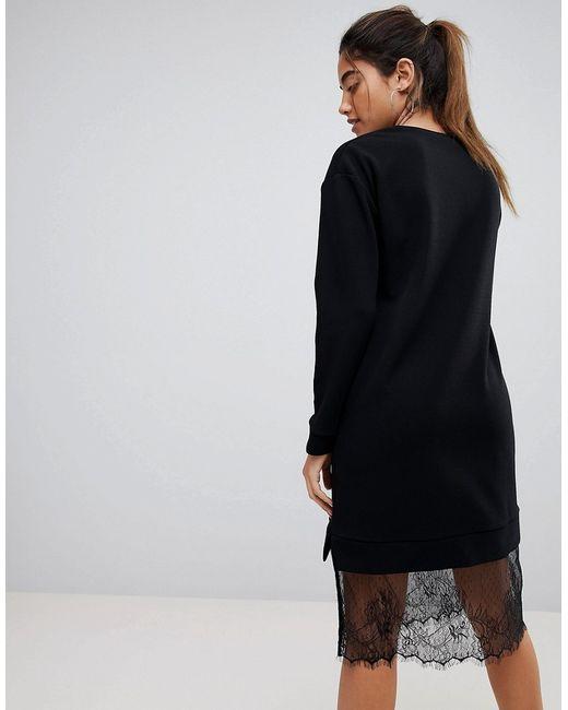 5910a33c132 Женское Чёрное Трикотажное Платье Миди С Кружевной Отделкой Asos 6944946