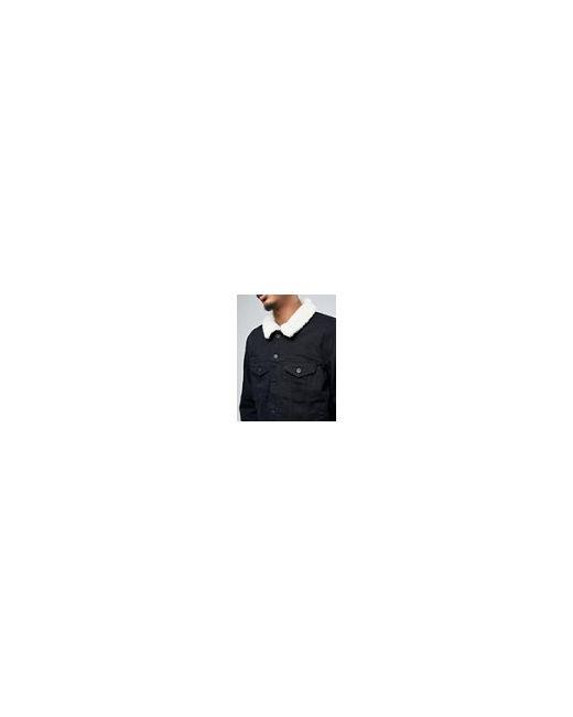 Черная Джинсовая Куртка С Воротником-Борг Черный Asos                                                                                                              чёрный цвет