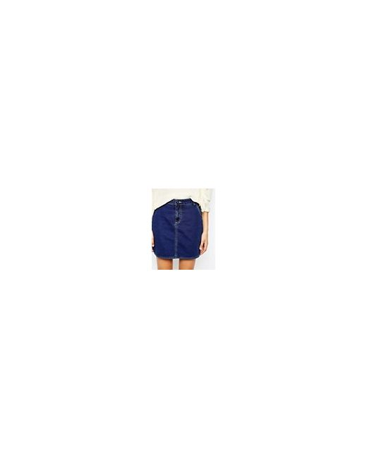 Джинсовая Юбка-Трапеция M.I.H Jeans Eques Синий Mih Jeans                                                                                                              синий цвет