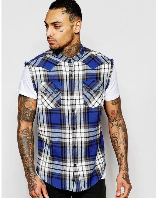 Клетчатая Рубашка Классического Кроя С Необработанными Краями Religion                                                                                                              синий цвет