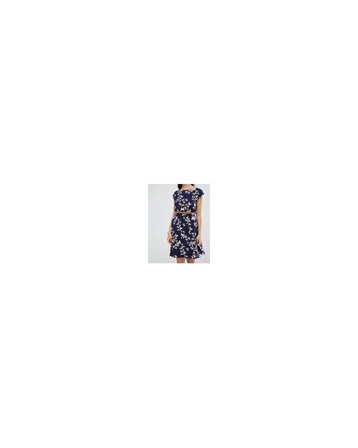 Платье С Принтом Бабочек Темно-Синий Yumi                                                                                                              синий цвет