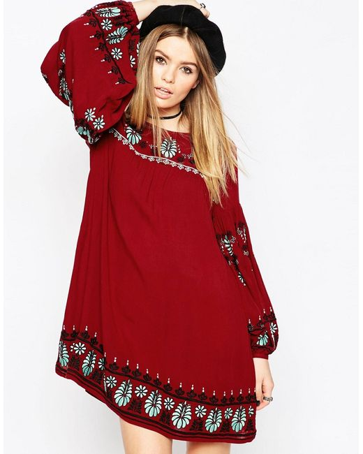 Свободное Платье С Вышивкой Premium Красный Asos                                                                                                              красный цвет