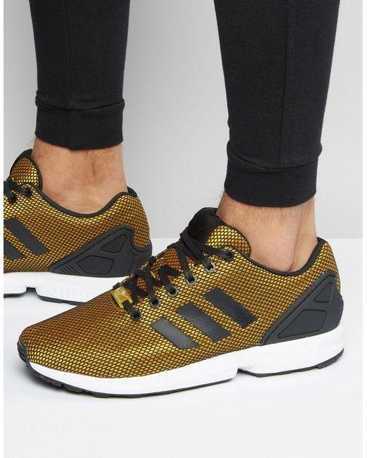 Золотистые Кроссовки Zx Flux S32275 Золотой adidas Originals                                                                                                              золотой цвет