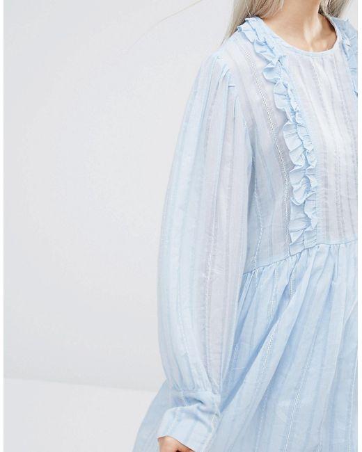 Stylenanda Long Sleeve Smock Dress With Woven STYLE NANDA                                                                                                              None цвет