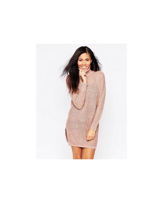 Платье-Джемпер С Отворачивающимся Воротником Розовый b.young                                                                                                              розовый цвет