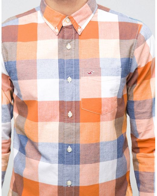 Стретчевая Оксфордская Рубашка В Синеоранжевую Клетку С Hollister                                                                                                              None цвет