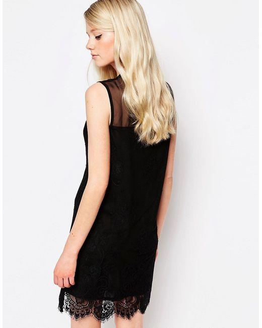 Цельнокройное Платье С Кружевной Отделкой Rogers Jovonna                                                                                                              чёрный цвет
