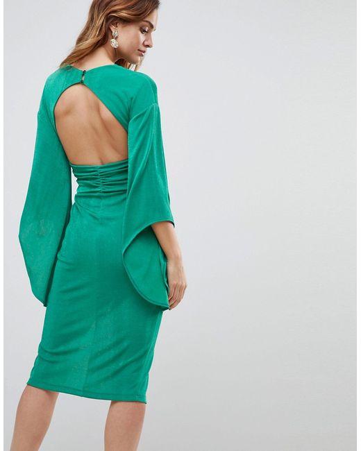 1e6b77b13c6 Женское Зелёное Платье-Кимоно Миди С Глубоким Вырезом Asos 6943414