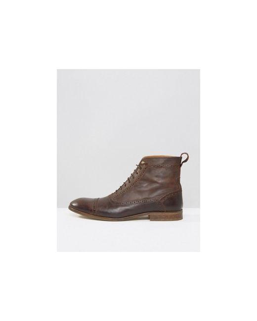 Кожаные Ботинки На Шнуровке Asos                                                                                                              коричневый цвет