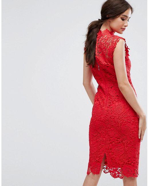 fb3a5941b99 ... Кружевное Платье-Футляр С Высоким Воротом Paper Dolls красный ...