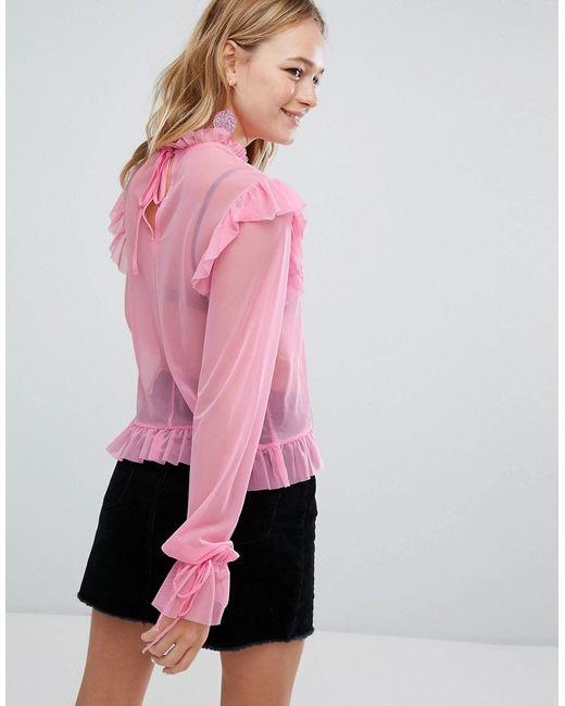e7072a7a3d6 Женская Розовая Блузка С Оборками Monki 6606165