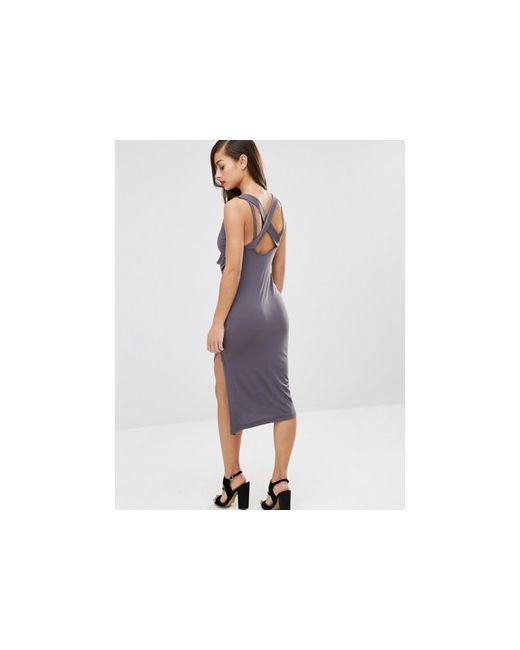 Облегающее Платье Миди С Драпировкой И Перекрестной ASOS PETITE                                                                                                              серый цвет