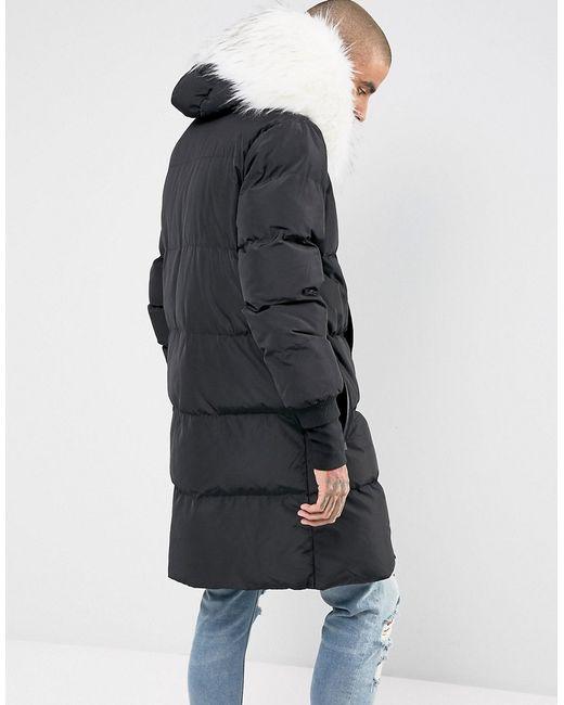 2816bedb ... чёрный; Длинная Дутая Куртка С Отделкой Из Искусственного Sixth June ...