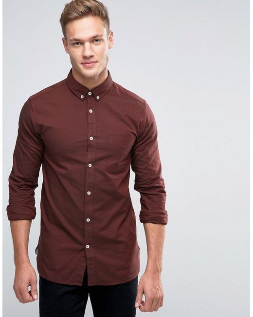 Premium Long Sleeve Oxford Shirt Jack & Jones                                                                                                              красный цвет