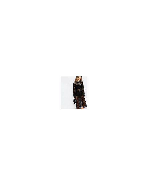 Кружевное Платьерубашка С Длинными Рукавами Черный Reclaimed Vintage                                                                                                              чёрный цвет