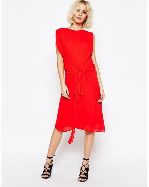 Платье С Завязкой На Талии Красный Paisie                                                                                                              красный цвет