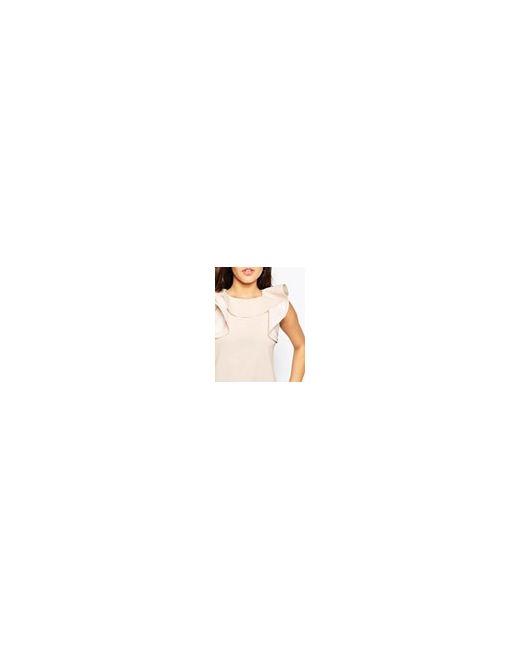 Цельнокройное Платье С Оборкой На Горловине Телесный Asos                                                                                                              Телесный цвет
