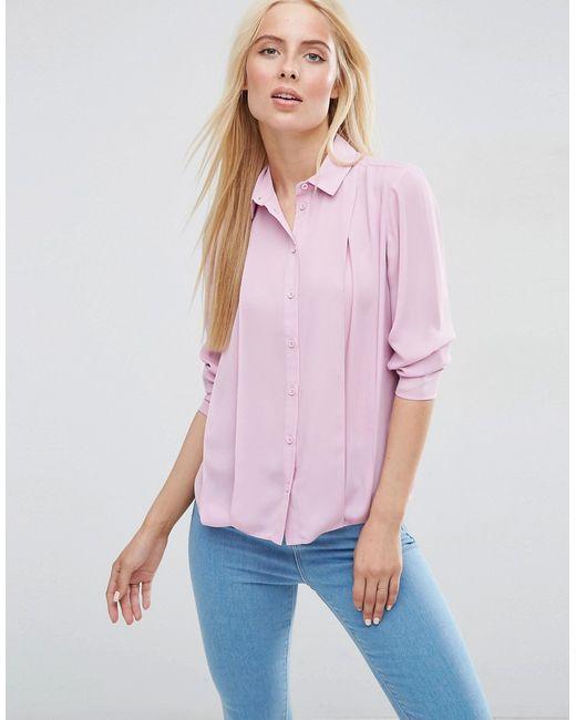 Блузка Со Складками Спереди Пыльно-Розовый Asos                                                                                                              розовый цвет