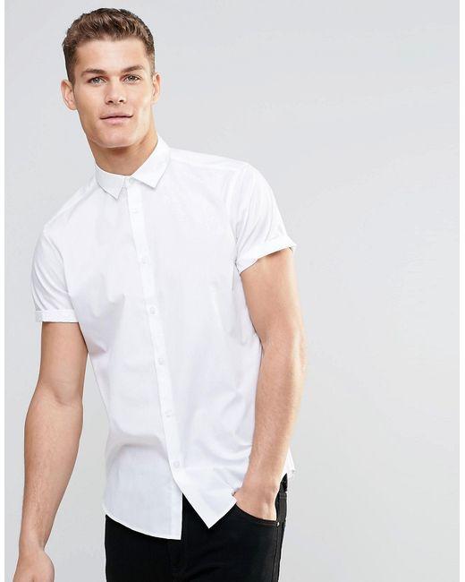Белая Рубашка В Строгом Стиле С Короткими Asos                                                                                                              белый цвет