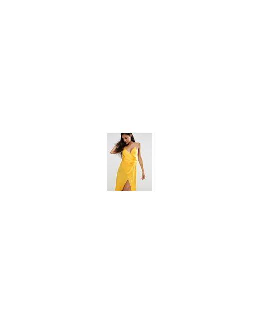Атласное Платье-Сорочка Макси Желтый Asos                                                                                                              желтый цвет