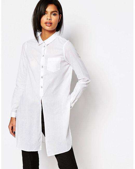 Рубашка С Разрезами По Бокам Белый Vero Moda                                                                                                              белый цвет