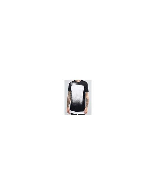 Длинная Черная Футболка Со Вставкой На Кромке Asos                                                                                                              чёрный цвет