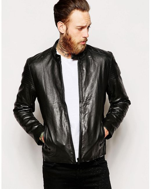 Кожаная Байкерская Куртка Черный Asos                                                                                                              чёрный цвет