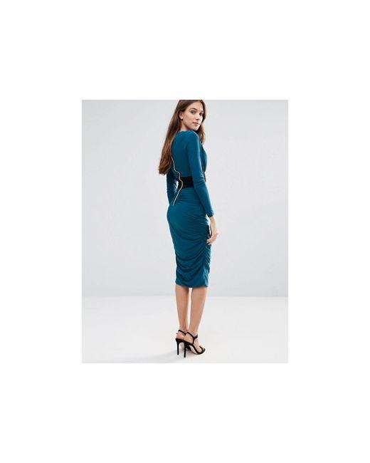 Платье-Футляр С Длинными Рукавами И Контрастной Талией Hedonia                                                                                                              зелёный цвет