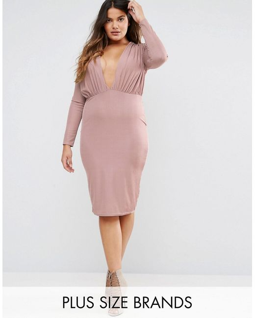 Slinky Plunge Bodycon Midi Dress Mauve Missguided Plus                                                                                                              None цвет