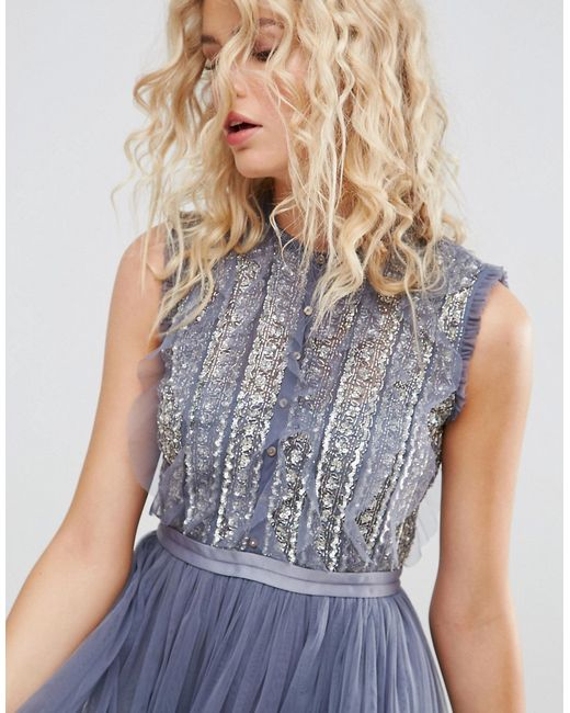 7975bd3da35 Женское Синее Тюлевое Платье Миди С Отделкой Needle   Thread 6212960