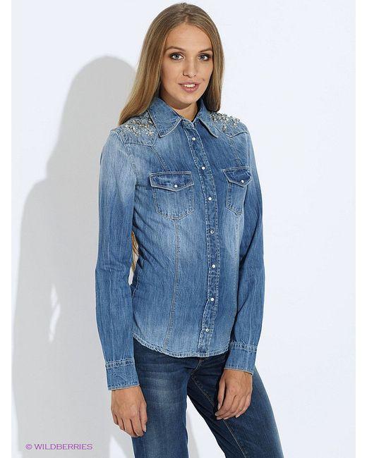 Рубашки Guess                                                                                                              голубой цвет