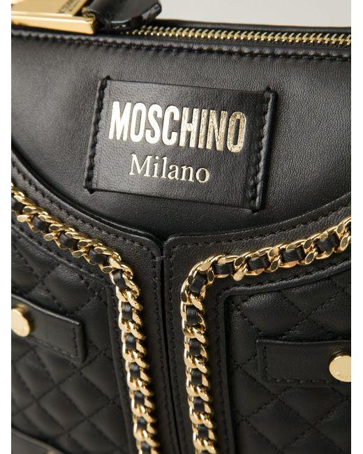 Сумка На Плечо С Золотистыми Деталями Moschino                                                                                                              чёрный цвет