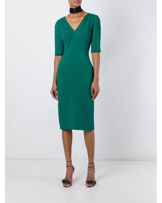 Платье C V-Образным Вырезом Dolce & Gabbana                                                                                                              зелёный цвет