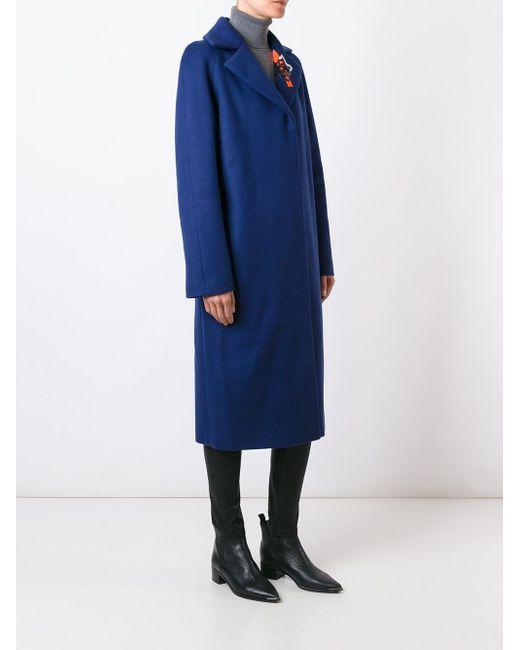 Пальто С Вышивкой На Воротнике Christopher Kane                                                                                                              синий цвет