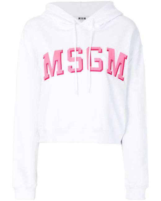 1aae1217 Женская Белая Длинная Толстовка С Логотипом MSGM 11777381860