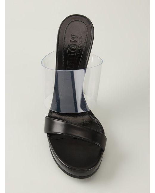 Мюли На Прозрачной Танкетке Alexander McQueen                                                                                                              чёрный цвет