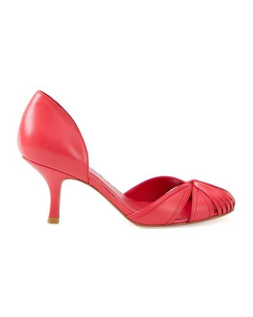 Round Toe Pumps Sarah Chofakian                                                                                                              красный цвет