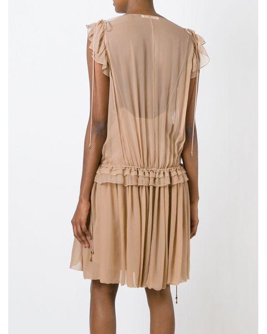 Плиссированное Платье С Глубоким Вырезом Chloe                                                                                                              Nude & Neutrals цвет