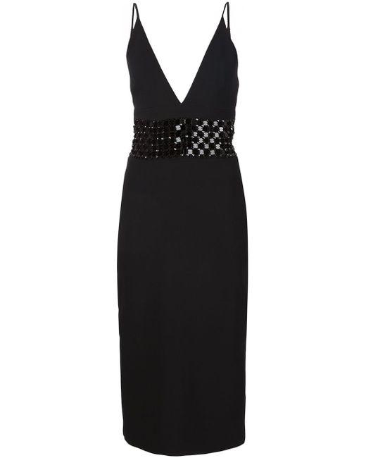 Платье С Контрастной Вставкой На Талии David Koma                                                                                                              чёрный цвет