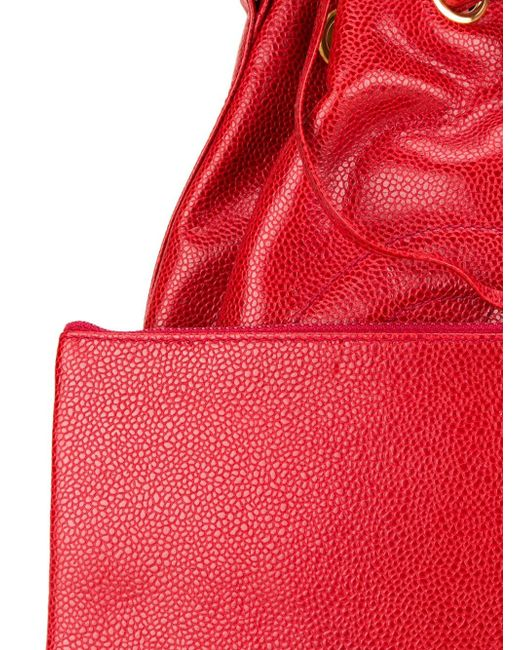 Сумка-Мешок С Тисненым Логотипом Chanel Vintage                                                                                                              красный цвет