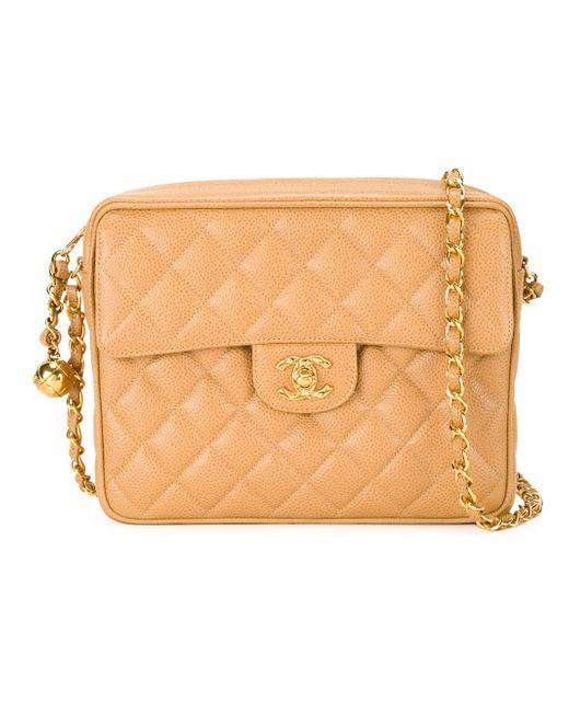 Стеганая Сумка Через Плечо Chanel Vintage                                                                                                              коричневый цвет
