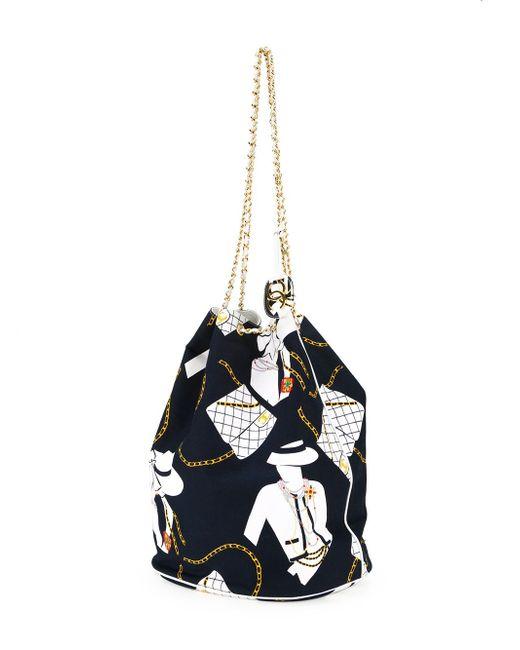 Сумка-Мешок С Принтом Jumbo Chanel Vintage                                                                                                              синий цвет