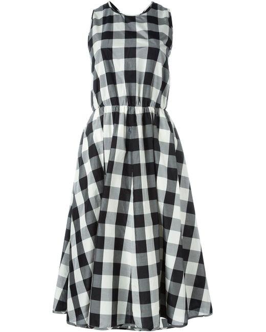 Расклешенное Платье В Клетку Rochas                                                                                                              чёрный цвет
