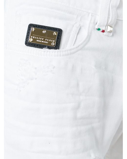 Джинсы Прямого Кроя С Рваными Деталями Philipp Plein                                                                                                              белый цвет