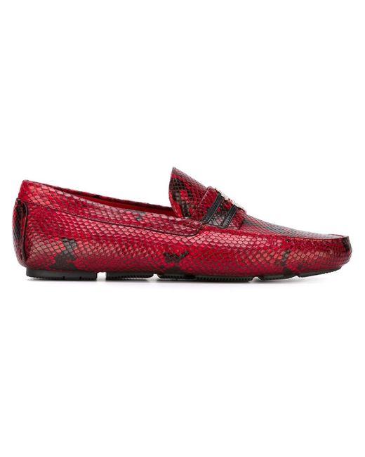 Лоферы С Эффектом Змеиной Кожи Roberto Cavalli                                                                                                              красный цвет