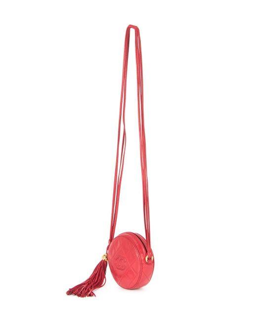 Стеганая Сумка На Плечо С Кисточкой Chanel Vintage                                                                                                              красный цвет