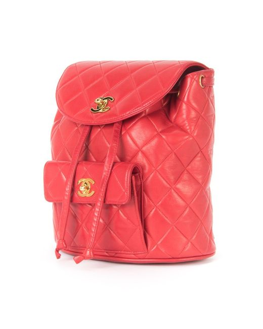 Стеганый Рюкзак С Цепочной Отделкой Chanel Vintage                                                                                                              красный цвет